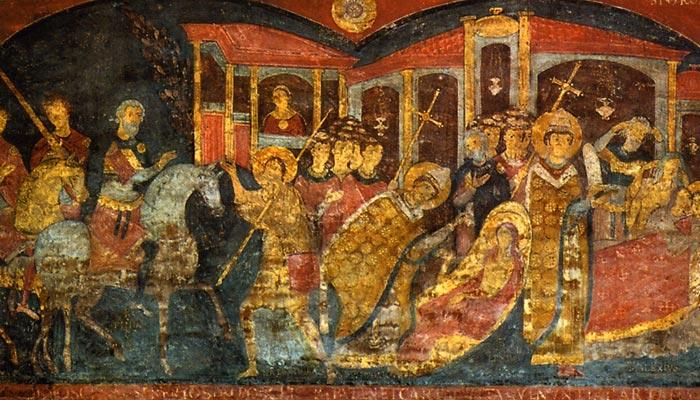 Фреска «Житіє св. Олексія »(XI століття) в нижній частині базиліки Святого Климента в Римі