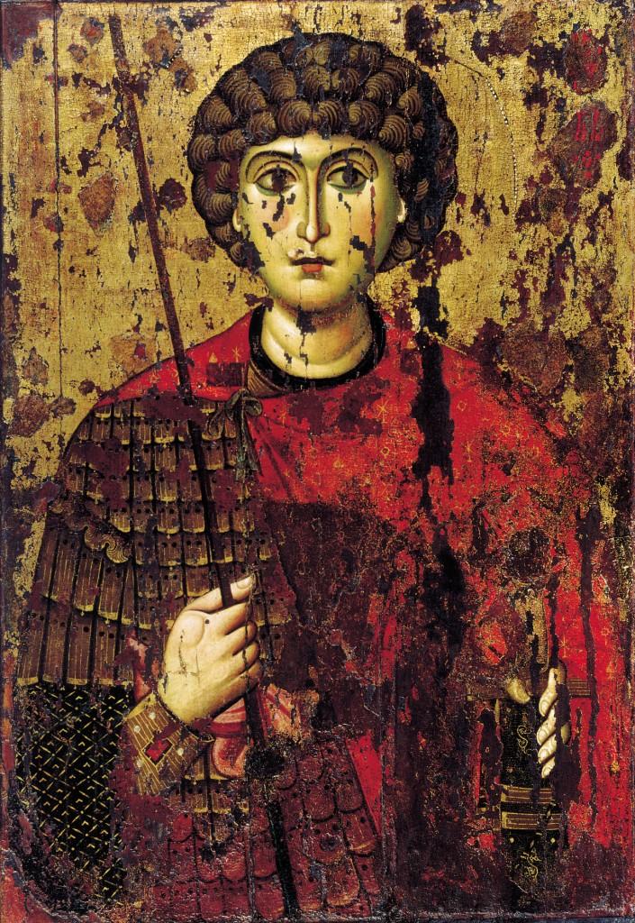 Св. Георгий. XI в., происходит из Софиевского собора в Новгороде, сейчас в Успенском соборе московского Кремля.