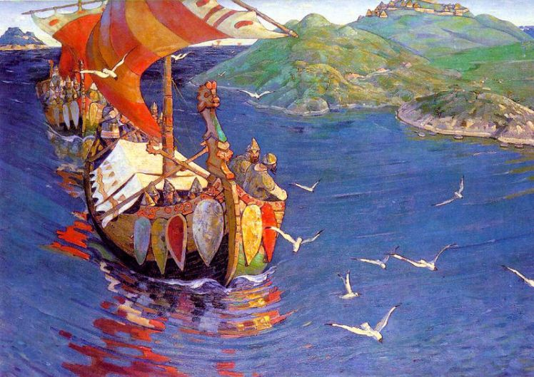800px-Nicholas_Roerich,_Guests_from_Overseas_(corrected_colour)