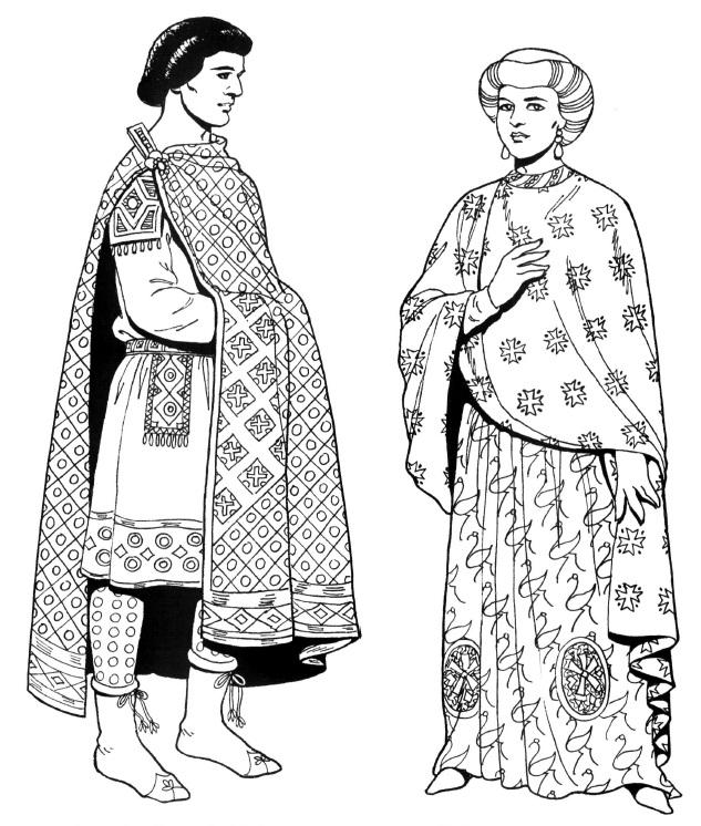 костюмы византийских придворных часів Юстиніана