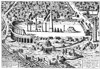 Развалины ипподрома и Большого дворца. На переднем плане — ц. Неа-Экклесиа. Гравюра. 1450 г.