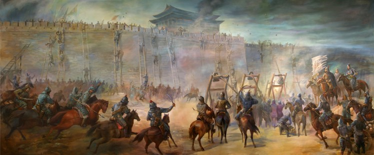 genghiz-khan-and-his-forces-laying-seige-and-then-attacking-a-walled-city
