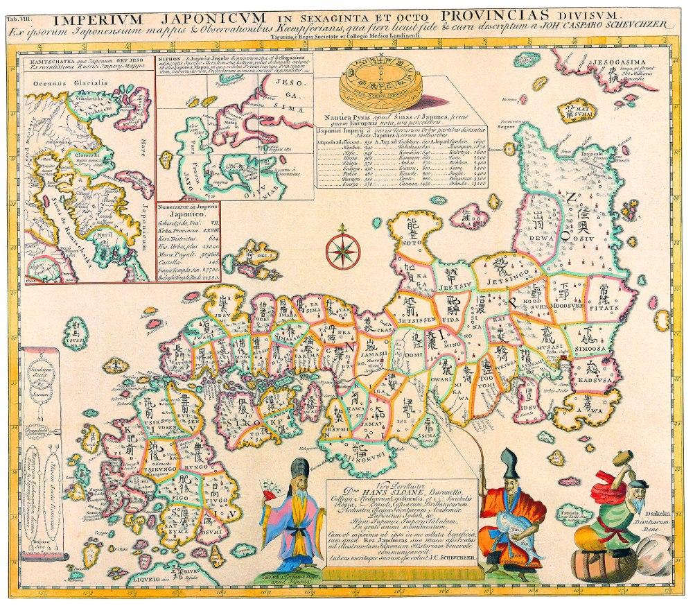 Antique Maps of the WorldMap of Japan Engelbert Kaempfer c 1727
