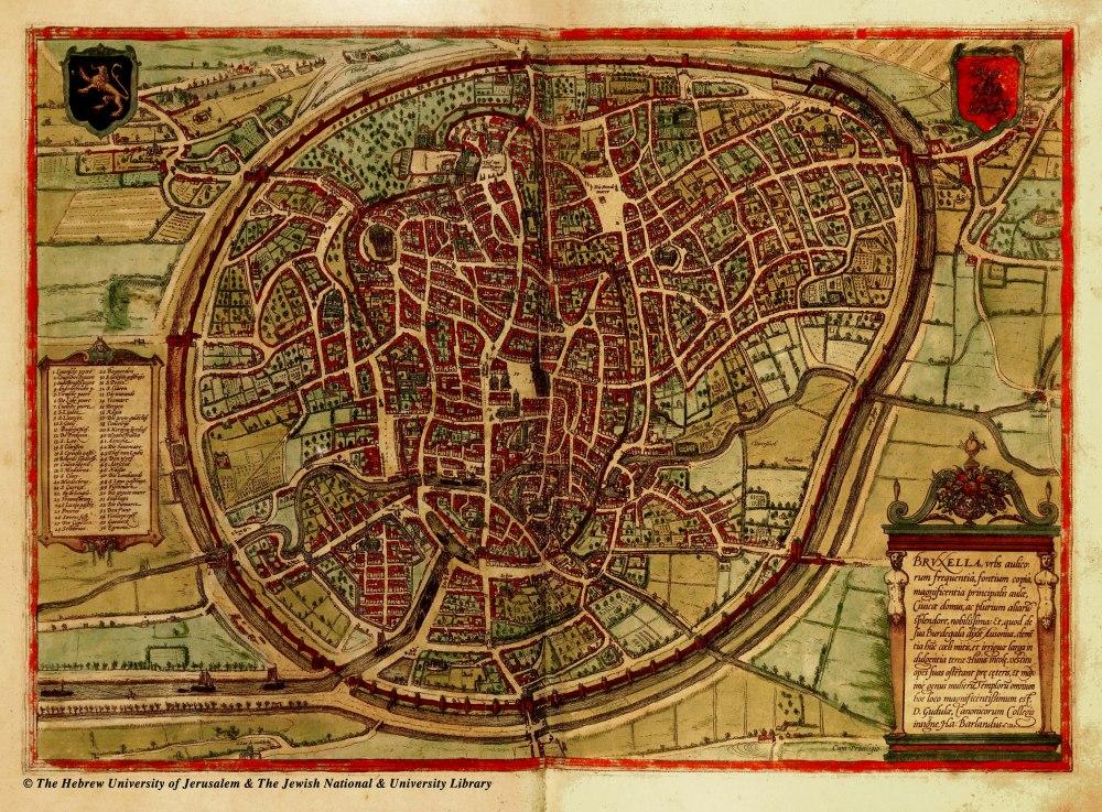 Большая подробная средневековая карта Брюсселя. Брюссель – большая подробная средневековая карта.