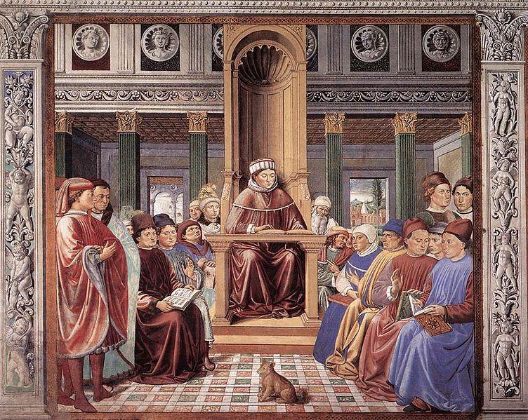 Беноццо Гоццоли. Св. Августин учит в Риме. Роспись ц. Сант-Агостино в г. Сан-Джиминьяно. 1464—1465 гг.