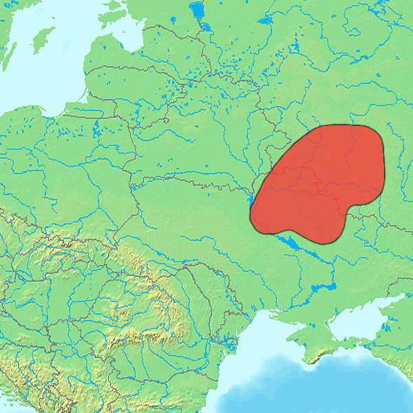 Местоположение племени русь, преемниками которого стали северяне, вятичи и радимичи, по В. В. Седову