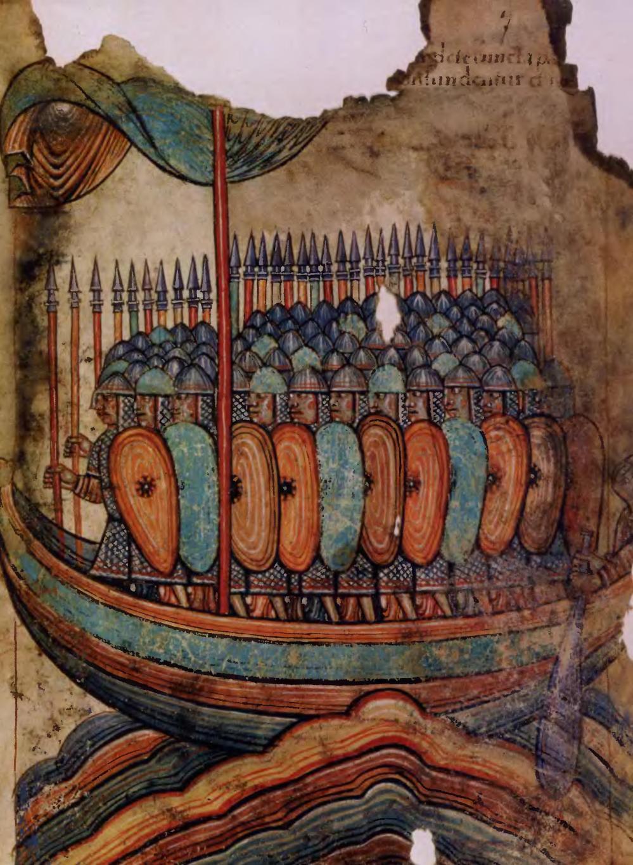 Морские бродяги, разбойники и воины, изображенные на иллюстрации к «Житию св. Обена», позволяют нам пр