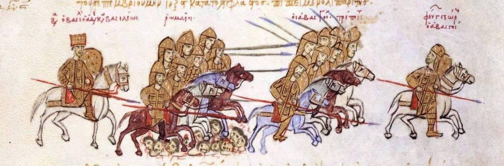 Поразка грузинського царя Георгія І (1014-1027) у війна супроти Василія ІІ Болгаровбивці (976-1025) у 1021 р. FOL 195v