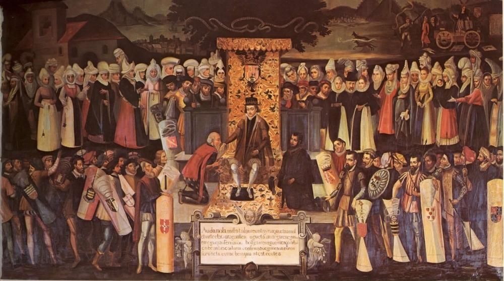1476. Fernando el Catolica Jurand los Fueros de Vizcaya en Guernica (Vázquez de Mendieta, Besamanos, 1609).jpg
