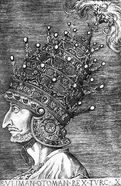 1532. Sultan Süleyman wearing the Venetian Helmet.jpg